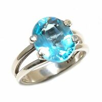 Blue Topaz Natural Gemstone Handmade 925 Sterling Silver Ring Size 6.5 SR-602