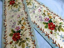 PAIR antique hand embroidered needlepoint panels Regency style florals