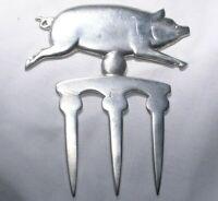 Norwegian Pewter Tinn Pig Decorative Meat Fork in Original Box MCM 1960s 4 In
