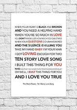 The Stone Roses - Ten Storey Love Song - Song Lyric Art Poster - A4 Size