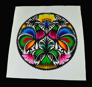 VINTAGE POLISH PAPER CUT SCHERENSCHNITTE ROOSTERS COLORFUL ART
