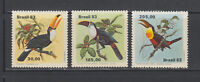 Brazil  1983 Toucan Birds Sc 1857-1859 low values  Mint Never Hinged