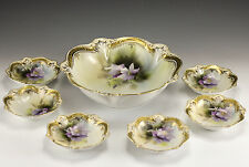 7pc Set R S Prussia Porcelain Berry Serving & Small Bowls,  Early 20th Century
