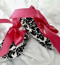Baby Girl Black & White Damask -Hot Pink Ribbon Ties Crib Shoes  (Size 0-3 Mths)