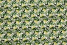 Tela rigida bianca a foglie verdi STOFFA AL METRO TESSUTO A METRAGGIO
