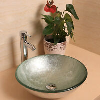Silver Bathroom Tempered Glass Sink Round with Faucet Drain Basin Vanity Combo