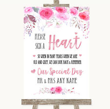 Pink Watercolour Floral Sign a Heart Personalised Wedding Sign