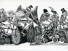 Post Card Of Skeletons On Bikes