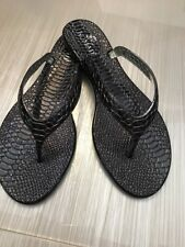 NEW Nomad BLACK METALLIC Lizard Print Sandals Flip Flops Shoes Size S fit 6