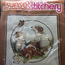 "Vintage Sunset Stitchery Puppy Love Embroidery Kit 1979 New 16"" x 16"""