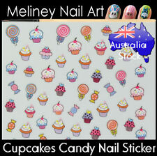 Cupcake Candy Lolly Nail Art Stickers Pink Sweets decoration Craft Supplies