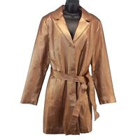 Metrostyle Copper Leather Trench Coat Womens 16 Tall Metallic Belted Lined Coat