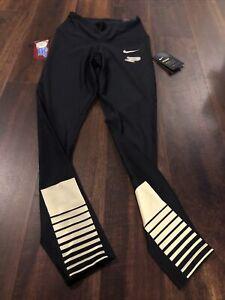 New Nike Purdue Boilermakers Womens Leggings Pants Size 2XL Black Gold