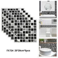 6 Pcs Mosaic Wall Decals Floor Tiles Waterproof Sticker Bathroom Self-adhesive