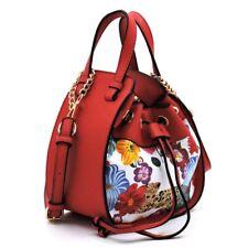 Women Fashion Drawstring Bucket Bags Mini Tote Handbag Chain Shoulder Bag Casual