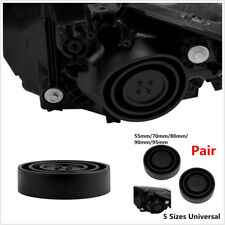 2 Pcs Black ABS Plastic Car SUV LED HID Headlights Retrofit Seal Cap Dust Covers