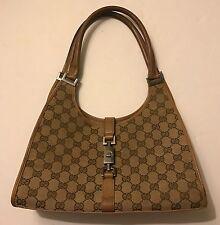 Gucci Beige Canvas GG Monogram Jackie Shoulder Handbag