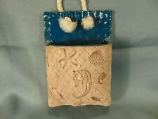 Hand crafted wall pocket pottery beach theme shells starfish seahorse ocean art