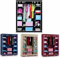 HOME FURNITURE STORAGE TRIPLE MULTIPLE CANVAS WARDROBE WITH HANGING RAIL