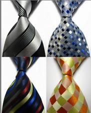 Lot of 4 Classic Stripes Checks Dot JACQUARD WOVEN 100% Silk Men's Tie Necktie