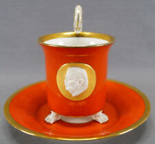 Kpm Berlin Red Orange Footed Paul Von Hindenburg Cameo Oversized Cup & Saucer