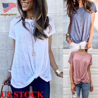 Womens Solid T Shirt Short Sleeve Shirt Casual Blouse Crew Neck Tops Basic Tee
