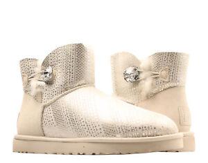UGG Australia Mini Bailey Button Bling Winter White Womens Boots 1003735-WIWH