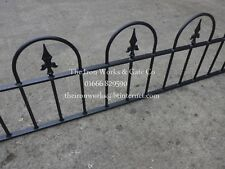 "SAXON-HOOP RAILING PANEL 6ft LONG x 18"" TALL WROUGHT IRON METAL FENCING ANY SIZE"