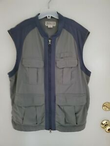 Duluth Trading Co. Men's Vented Utility Vest Sz L Gray/Green Zip Hiking Travel