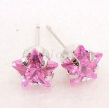 Women Girl White Gold plated 7mm Star Pink CZ Cubic Zirconia Xmas Stud Earrings