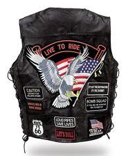 """Gilet jacket blouson sans manche en cuir """" Aigle / Live To Ride """"  [ S à 5XL ]"""