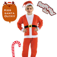 Christmas Kids Boys Santa Outfit Clothes Jacket Hat Suit Costume Xmas Party Gift