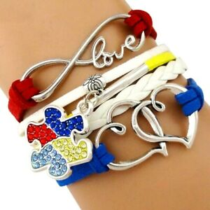 Autism Acceptance Awareness Leather Charm Bracelet Wristband Wrist Band Support
