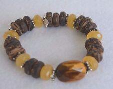 Silpada Wood Honey Jade Tigers Eye Sterling Silver Bead Bracelet Retired B1362