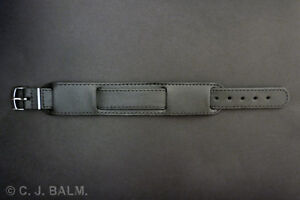 Quality Black Military Style Leather Watch Strap 16mm 18mm 20mm