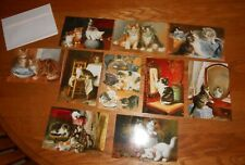 Set Of 10 Cat Art Cards With Envelopes- Adorable!