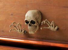 3 pc realistic Human SKULL & HANDS coming out of wall hanging Statue skeleton