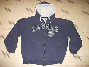 VINTAGE BUFFALO SABRES NHL ZIPPER FRONT JACKET SWEATSHIRT HOODIE MENS SIZE LARGE