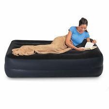 Intex Fibre-Tech Single Pillow Rest Raised Airbed Air Bed + Built-in Pump #64122
