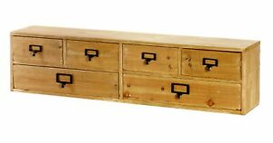 6 Drawers Storage Organiser Rustic 80cm Wide Wooden Wall Mount / Desktop Cabinet