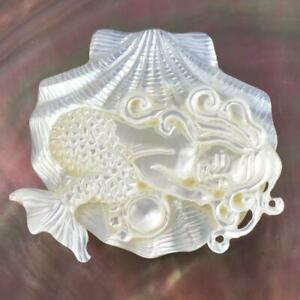 White Mother-of-Pearl Shell Mermaid in Shell Design Carving Cabochon 4.06 g