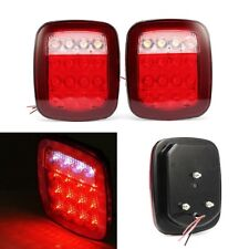 2 LED Red/White Truck Trailer Stop Turn Tail Light For Jeep Wrangler JK TJ CJ YJ