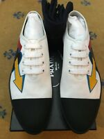 New Prada Mens Trainers Sneakers White Canvas Leather Shoes UK 10 US 11 EU 44