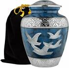 Heavenly Peace Dark Blue Wings of Love Large Urn for Human Ashes