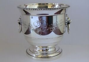 A Vintage Silver Plated & Hand Engraved Wine Cooler / Ice Bucket