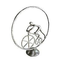 Man in Circle Bicycle Sculpture - Metal Figurine - Cast Iron - Abstract Art