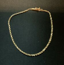 "14K Yellow Gold Rope Chain Bracelet 7"" Long 2 Grams"