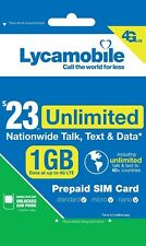 Lycamobile $23 Plan Prepaid 1st Month Free Sim Card 1Gb 4G Unlimited Talk, Text