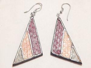 Vintage Jewellery - Handmade Triangle Painted Wooden Earrings - Deceased Estate
