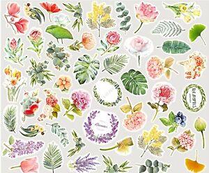 100 FLOWER & LEAF STICKERS Floral Scrapbook Journal Stationery Craft Decoration